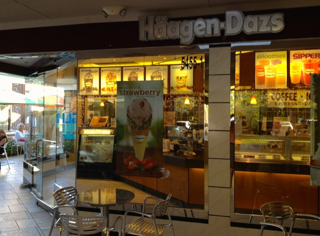 Haagen Dazs shop in the Waterside mall, Naples.